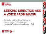Seeking direction and a voice from Māori