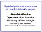 Signed edge domination numbers of complete tripartite graphs