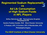 Regimented Sodium Replacement  vs Ad Lib Consumption  of High Sodium Fluids in NFL Players