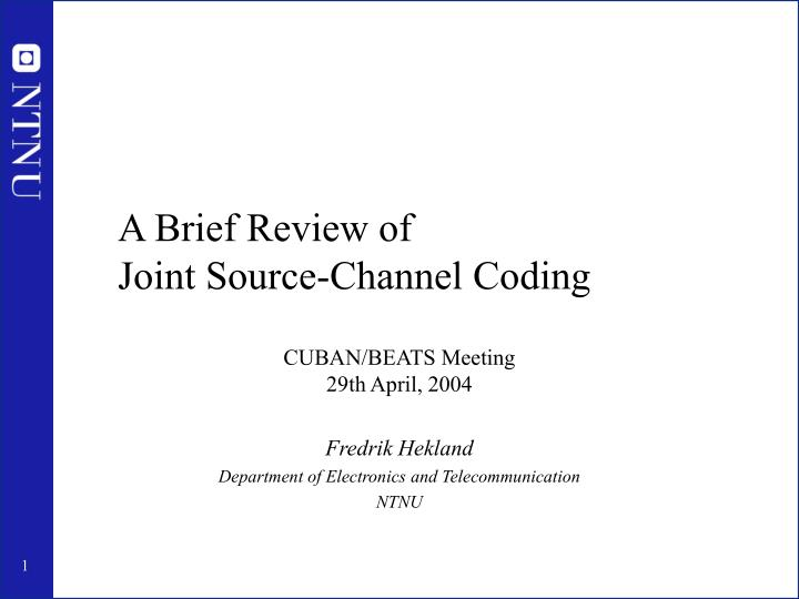a brief review of joint source channel coding n.