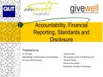 Accountability, Financial Reporting, Standards and Disclosure