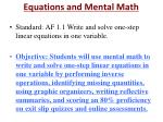 Equations and Mental Math