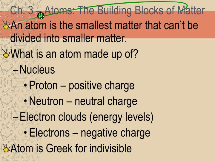 PPT Ch 3 Atoms The Building Blocks Of Matter