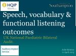 Speech, vocabulary & functional listening outcomes