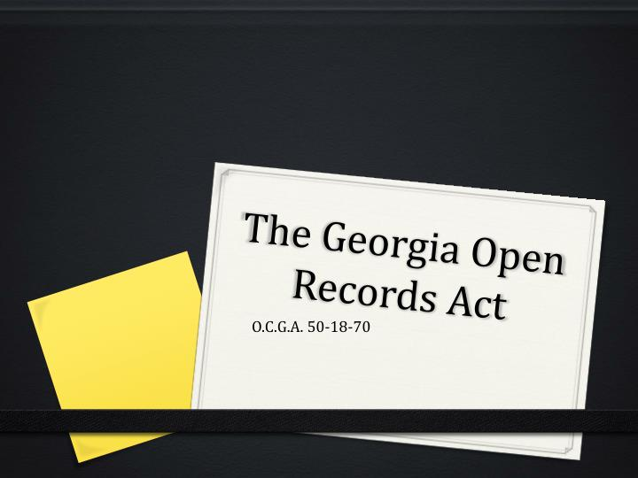 the georgia open records act n.