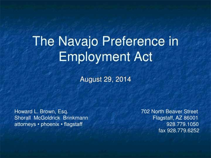 the navajo preference in employment act n.