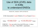 Use of SEA LEVEL data in ICMs to understand ENSOs
