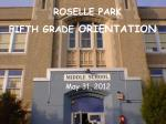 FIFTH GRADE  ORIENTATION