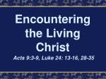 Encountering the Living Christ Acts 9:3-9, Luke 24: 13-16, 28-35