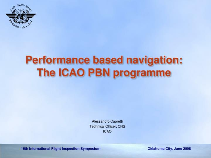 performance based navigation the icao pbn programme n.