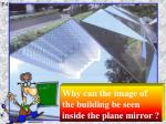 Why can the image of the building be seen inside the plane mirror ?