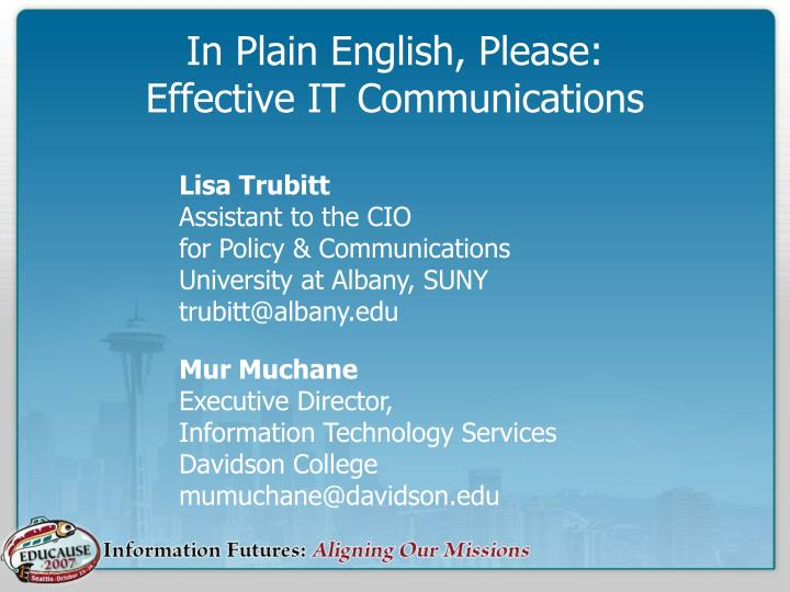 in plain english please effective it communications n.