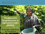 The Women's Empowerment in Agriculture Index (WEAI) Emily Hogue, USAID Bureau for Food Security