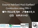 Enzyme Stabilized Mud (Earthen)  Construction using DBV-1 (Project funded by NABARD)