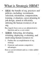 What is Strategic HRM?