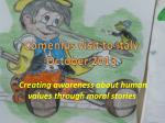 Creating awareness about human values through moral stories
