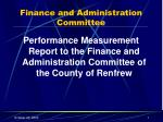 Finance and Administration Committee