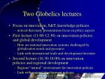 Two Globelics lectures
