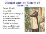Mendel and the History of Genetics