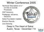 Winter Conference 2005
