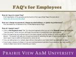 FAQ's for Employees