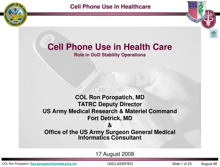cell phone use in health care role in dod stability operations n.
