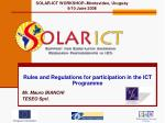 Rules and Regulations for participation in the ICT Programme Mr. Mauro BIANCHI TESEO Sprl.