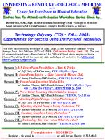 Technology Odyssey (TO) – FALL 2003: Opportunities for Success Using Instructional Technology