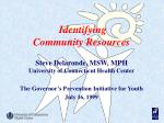 Identifying Community Resources