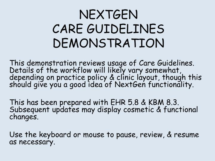 nextgen care guidelines demonstration n.