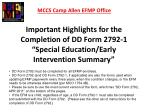 """Important Highlights for the Completion of DD Form 2792-1 """"Special Education/Early"""