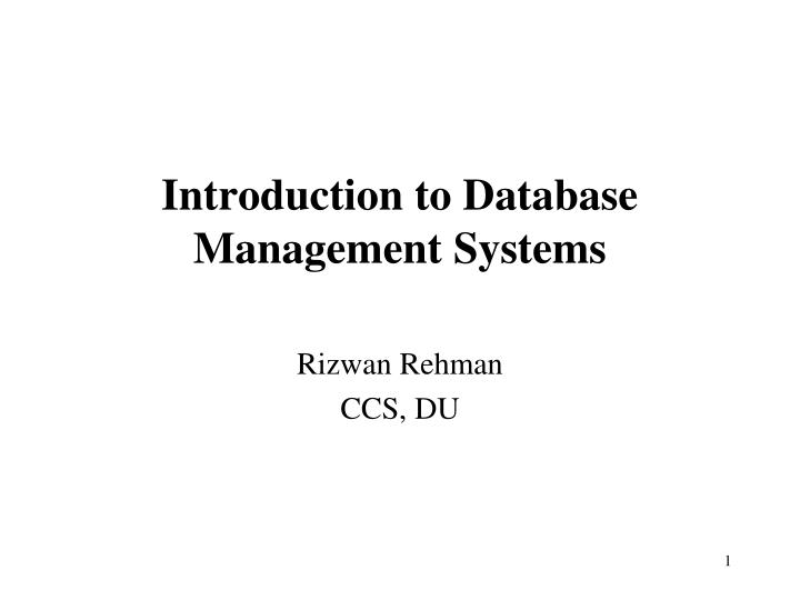 introduction to database management systems n.