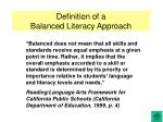 Definition of a Balanced Literacy Approach