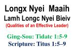 Longx Nyei  Maaih  Lamh Longc Nyei Bieiv  (Qualities of an Effective Leader)