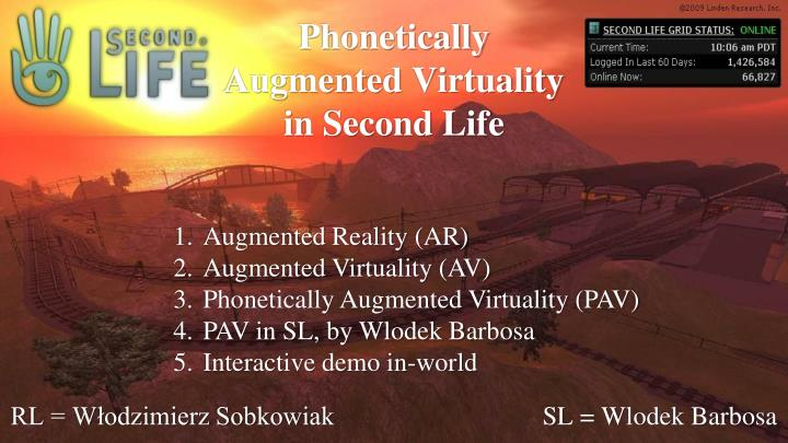 phonetically augmented virtuality in second life n.