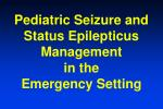 Pediatric Seizure and Status Epilepticus Management in the Emergency Setting