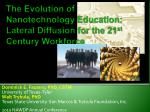 The Evolution of Nanotechnology Education: Lateral Diffusion for the 21 st  Century Workforce
