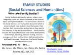 FAMILY STUDIES  (Social Sciences and Humanities)