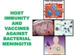 HOST IMMUNITY AND VACCINES AGAINST BACTERIAL MENINGITIS