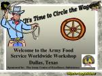 Welcome to the Army Food Service Worldwide Workshop Dallas, Texas