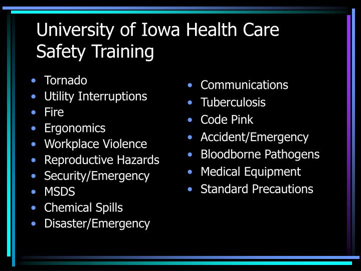 university of iowa health care safety training n.