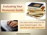 Evaluating Your Resources Guide
