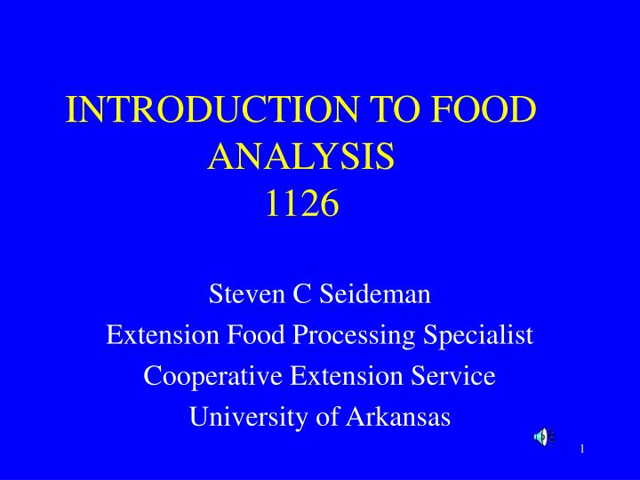 introduction to food analysis 1126 n.