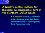 A Quality control system for Biological Oceanographic data in the Northern Indian Ocean