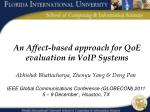 An Affect-based approach for QoE evaluation in VoIP Systems