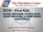 STCW – Final  Rule RADIO OFFICERS, PILOTS (FCP),  STAFF OFFICERS, & HIGH SPEED CRAFT(HSC)