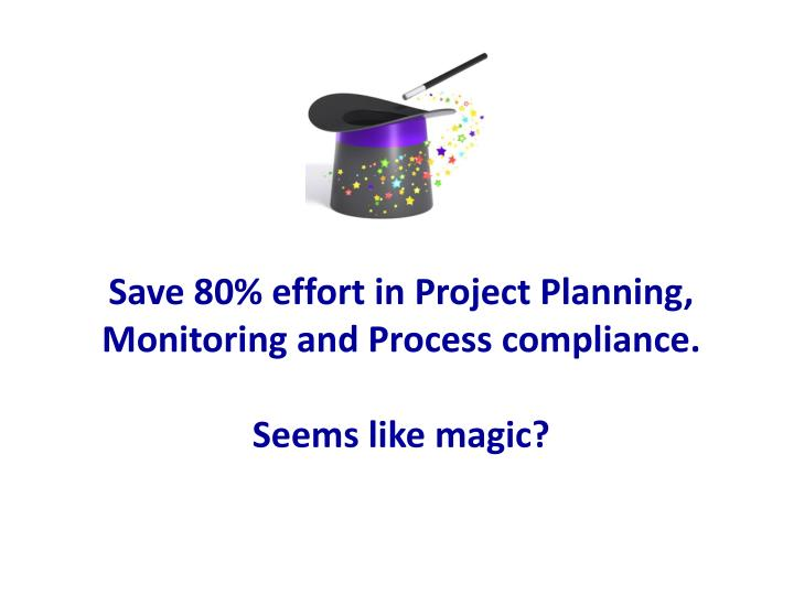 save 80 effort in project planning monitoring and process compliance seems like magic n.
