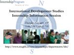 International Development Studies Internship Information Session