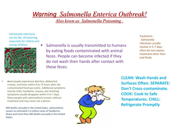 warning salmonella enterica outbreak also kown as salmonella poisoning n.