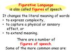 Figurative Language is also called figures of speech.